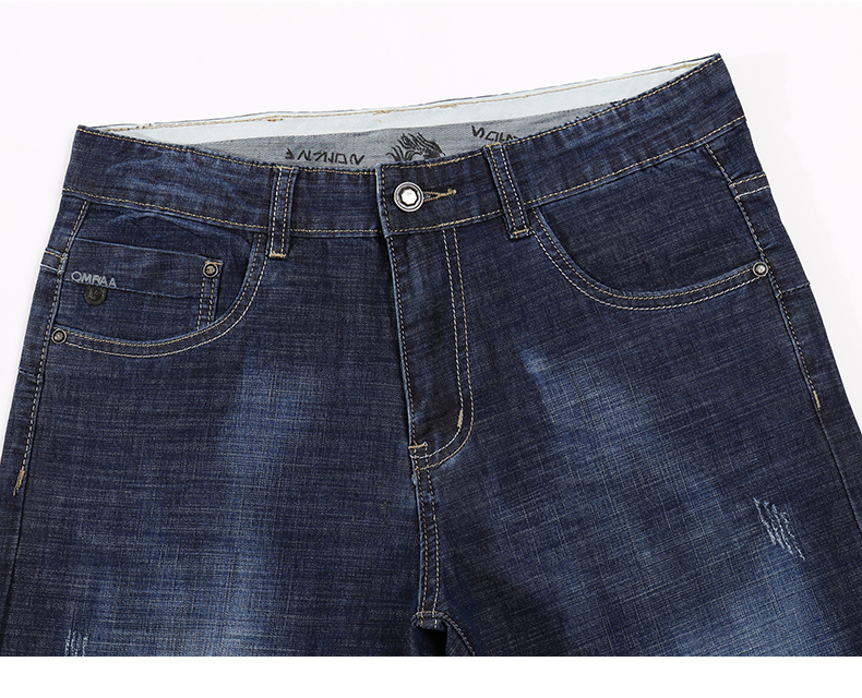 KSTUN Men Jeans Famous Brand 2019 Slim Straight Business Casual Dark Blue Thin Elasticity Cotton Denim Pants Trousers pantalon 13