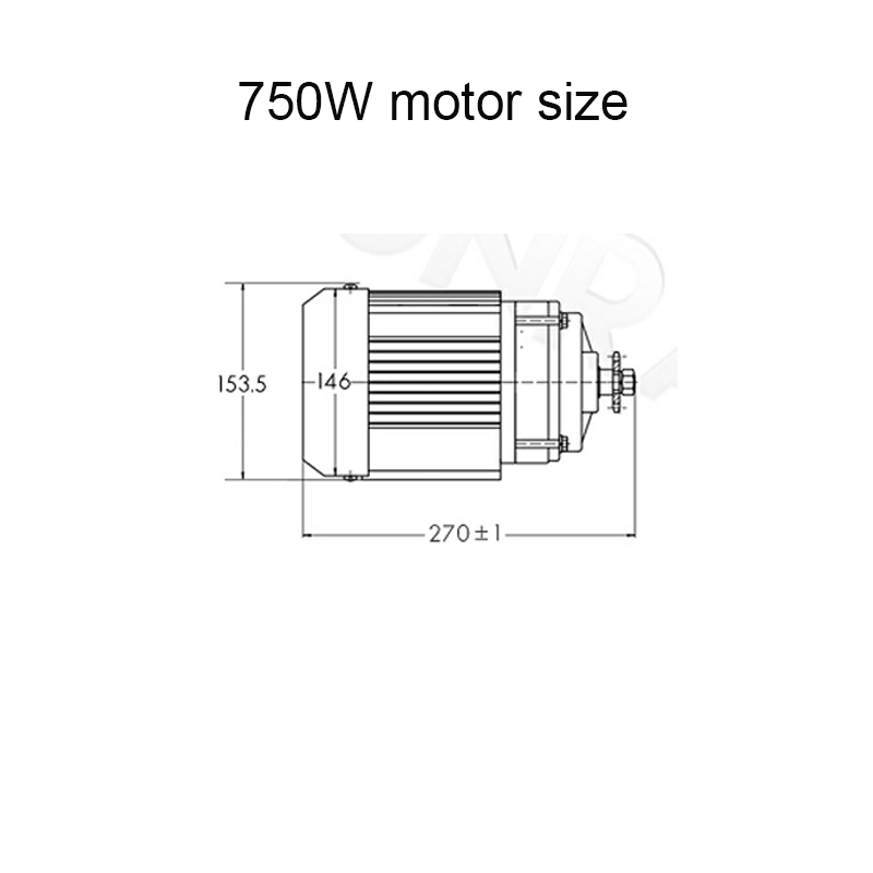 750W motor size