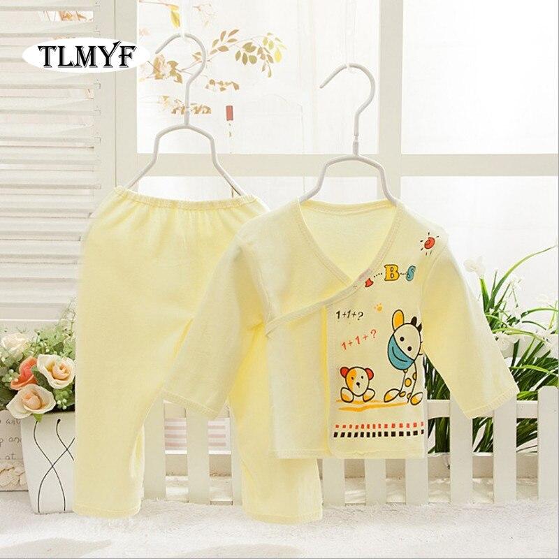 (2 Stks/set) Pasgeboren Baby 0-3 M Kleding Set Merk Baby Jongen/meisje Kleding 100% Katoen Cartoon Dikker Ondergoed, Gratis Verzending Nt060 100% Hoogwaardige Materialen