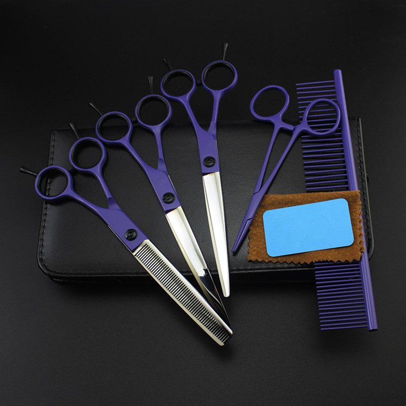 5 kit Professional Japan 7 inch violet pet dog grooming hair scissors set cutting shears thinning barber hairdressing scissors 4 kit professional 8 inch pink pet grooming shears cutting hair scissors case dog grooming thinning barber hairdressing scissors