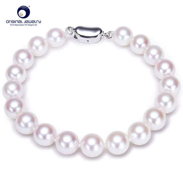 [YS] Fine Jewelry 7-7.5mm Akoya Seawater Cultured Pearl Jewelry White Elegant Bracelet  For Women Free Shipping
