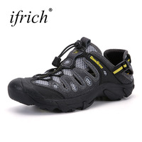 2019 Ifrich Breathable Water Shoes Men Breathable Outdoor Shoes Summer Grey Army Green Summer Water Sneakers