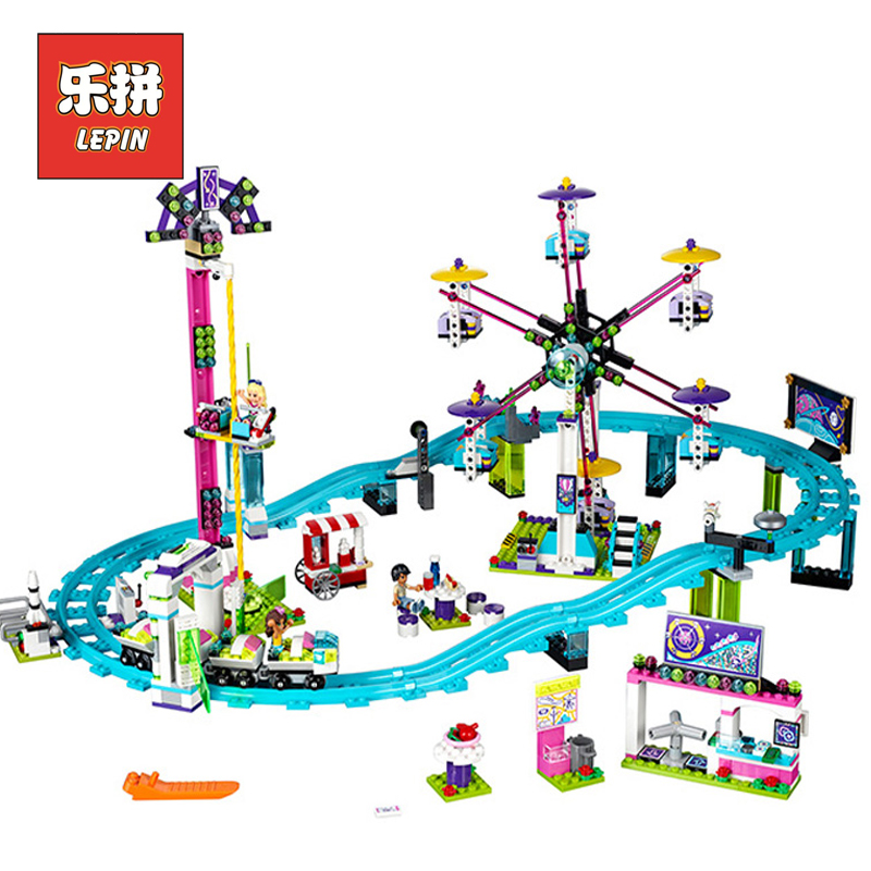 цена на Lepin 01008 Girl Series Friends Park Roller Coaster Ferris Wheel Set Model Building Blocks Bricks Children Toys Christmas Gift