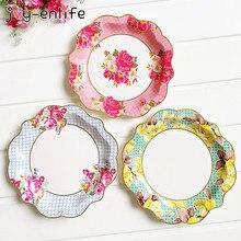 JOY-ENLIFE 6pcs Vintage Disposable Flower Paper Plate Pink Rose Floral Plates Dessert Dishes Wedding Birthday Tea Party Supplies