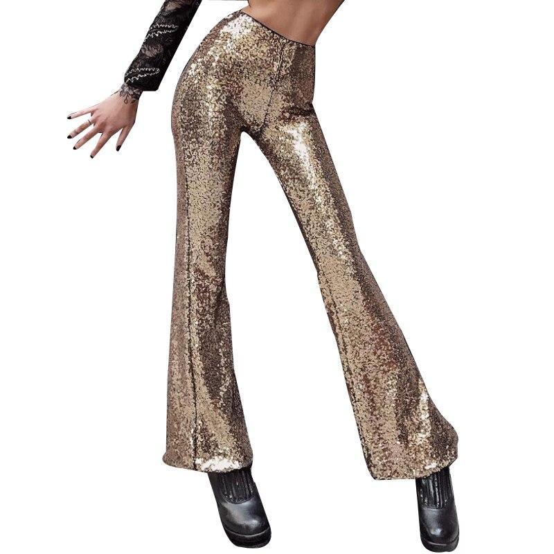 Golden Silver Sequin Trousers Women Sparkly Metallic Maxi Long   Wide     Leg     Pants   Club Wear Dance pantalones mujer cintura alta