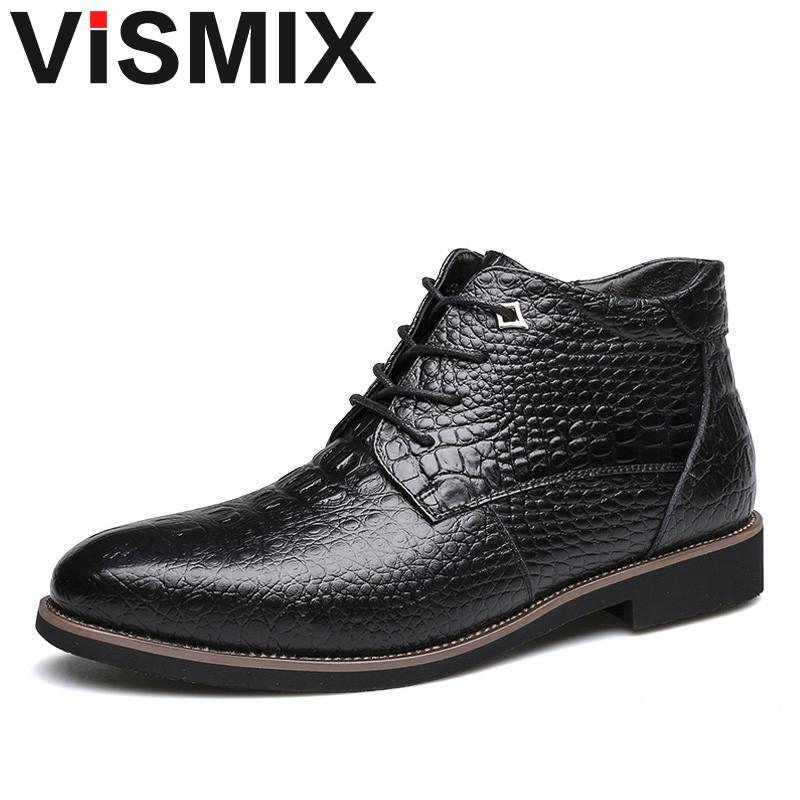 VISMIX Luxury Brand Men Winter Boots Warm Thicken Fur Men's Ankle Boots Fashion 2018 Male Business Office Formal Leather Shoes