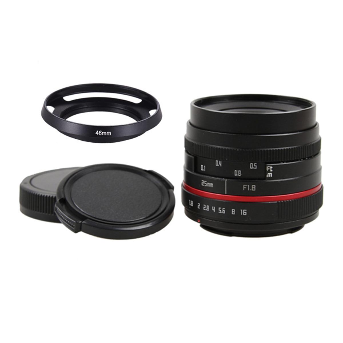 25mm F1.8 Manual Wide Angle Lens+metal Lens Hood for Olympus Panasonic Micro 4/3 M4/3 GX7 GX8 OM-D E-M5/II E-M1/II E-M10II/III