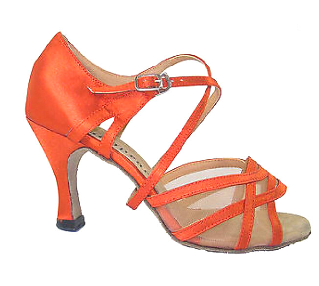 New Orange Satin Mesh Ballroom LATIN Dance Shoes SALSA Dance Shoes Performance Dance Shoes All Size