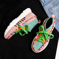 Sneakers Women 2018 Autumn New Med Heels Mixed Color Leather Breathable Ladies Shoes Fashion Casual Socks Shoes Zapatos Mujer