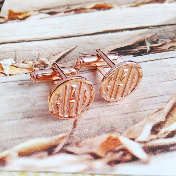 Rose Gold Wedding Groom Svatební dárek, personalizované manžetové knoflíčky ryté monogram CuffLinks vánoční dárkové manžetové knoflíčky pro muže