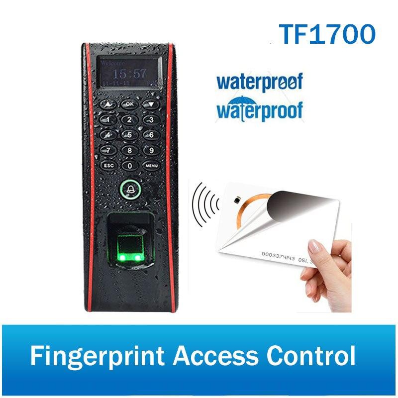 IP65 imperméabilisent le contrôle d'accès d'empreinte digitale et le système de contrôle d'accès de porte de tcp/ip ZK TF1700 avec le lecteur de carte de RFID