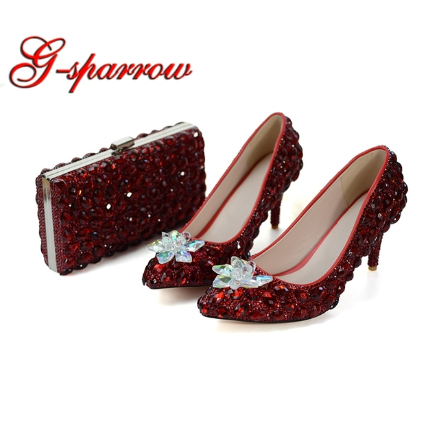 1950c4255 Red Wine Color Wedding Party Shoes LUxurious Rhinestone Bridesmaid Shoes  with Matching Bag Pointed Toe Cinderella Prom Heels 8cm