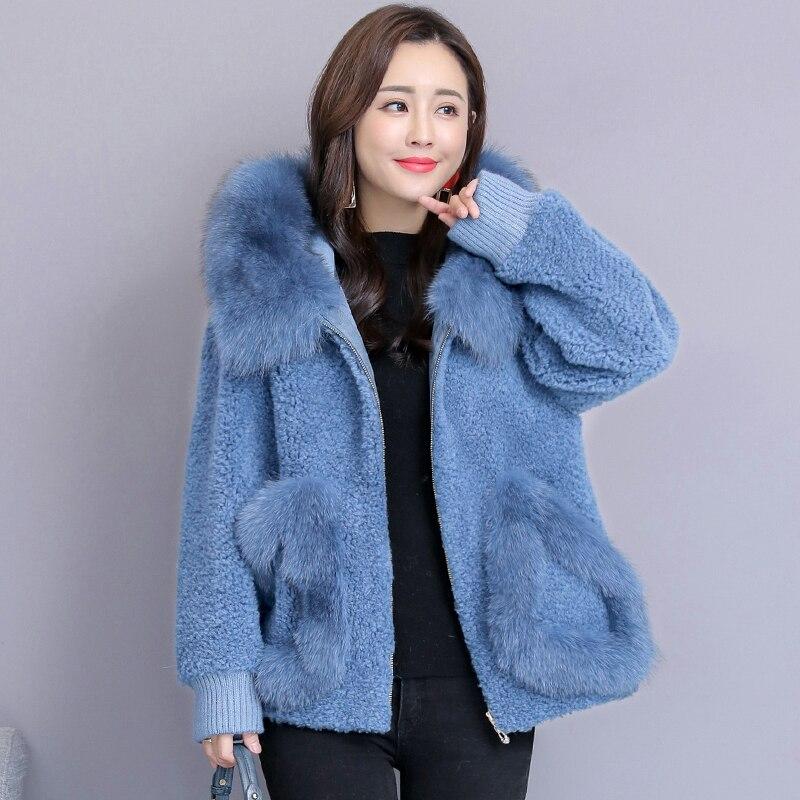 2018 di modo di inverno breve paragrafo pelliccia di volpe bavero del cappotto di lana di tosatura delle pecore di lana cappotti Giubbotti più il formato Patchwork di Pelliccia Cappotto S ~ 3XL