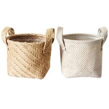 Household DIY Handmade Woven Flower Pot Jute Cloth Simple Portable Desktop Storage Baskets