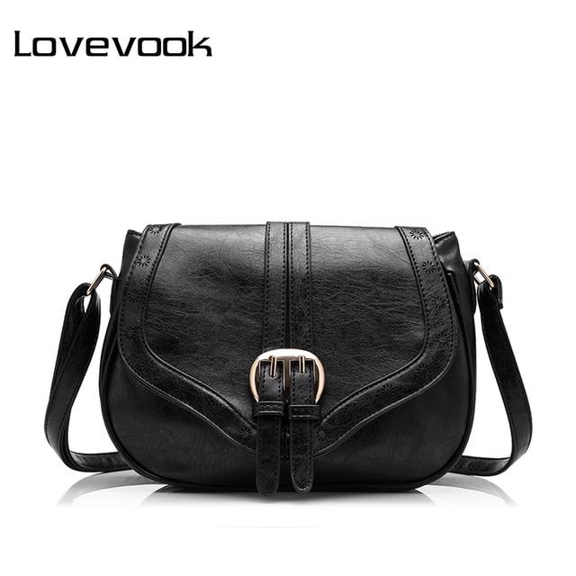 LOVEVOOK brand women messenger bag female hollow out saddle bag PU fashion ladies shoulder bag women crossbody bag