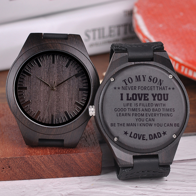 Engraved Wooden Watches  Personalized Gifts For Son, or friends, Lover's Birthday,Anniversary Day,Groomsman Gift