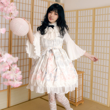 Palace vintage sweet lolita dress lace bowknot printing victorian dress+flare sleeve lolita top kawaii girl gothic lolita set sweet custom tailored rococo lolita dress classic vintage floral printed short sleeve midi dress with lace ruffles by miss point