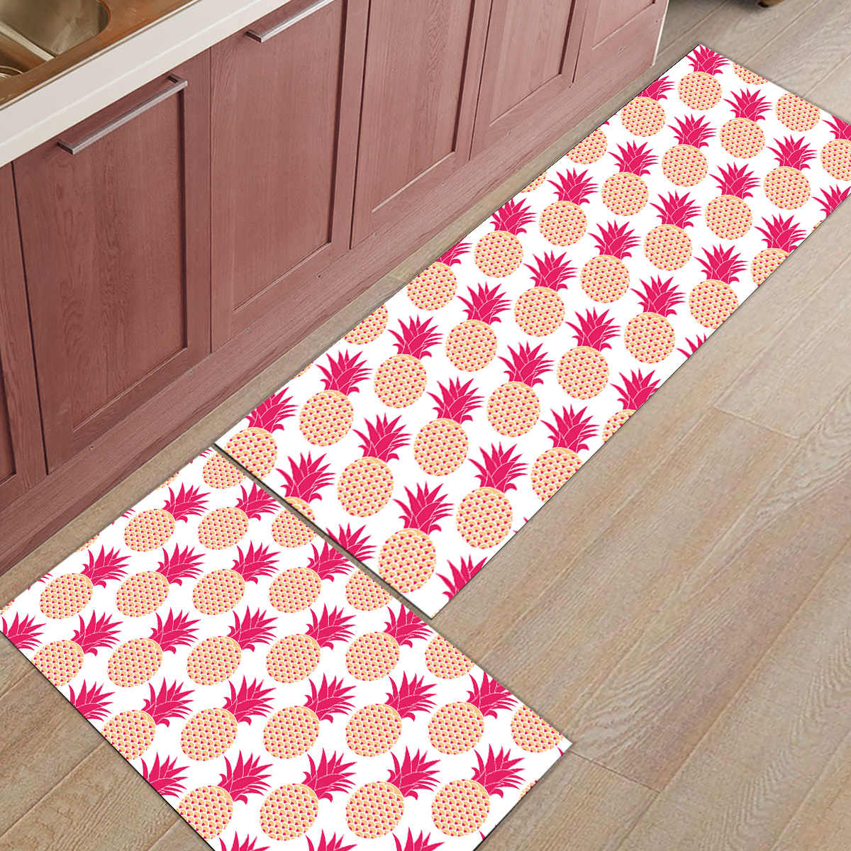 2 sztuka kuchnia maty i dywany zestaw nowoczesny różowy ananas wystrój domu Non Skid obszar Runner drzwi maty dywan