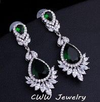 Wedding Souvenir Jewelry Long Drop CZ Crystal Emerald Green Bridal Wedding Chandelier Earrings For Brides Free