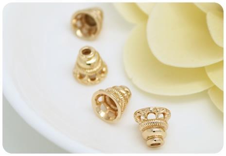Латунные бусины с покрытием 24 каратным золотом 6 шт 7x7 мм