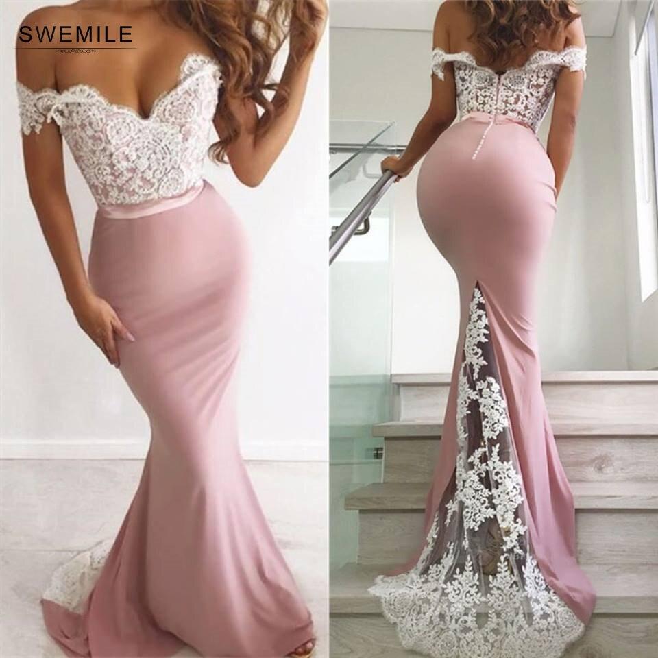 Sexy V-Neck Mermaid   Prom     Dresses   Long Elegant Lace Off The Shoulder   Prom   Gown Custom Make Backless Party   Dress   Vestidos De Gala
