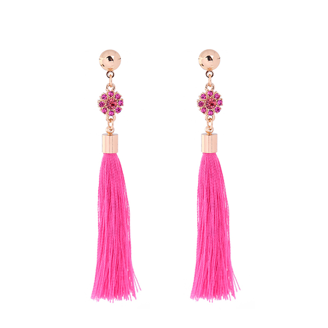 Gray Hot Pink Long Tel Fringe Earrings For Women Crystal Ear Piercing Handmade Hanging
