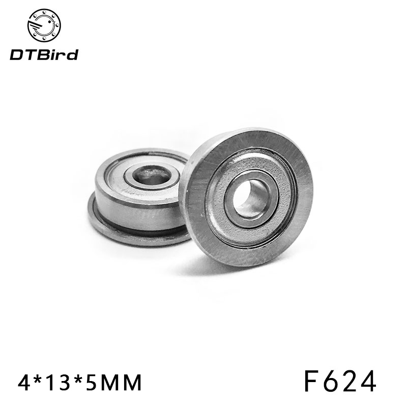 Free Shipping F624ZZ flanged bearing (10pcs/1 lot) 4*13*5mm 10pcs lot free shipping 10pc lot rcj330n25 rcj330