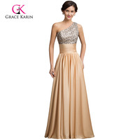 Real Sample 2015 Sequins Long Evening Gowns Dress Gold Satin A Line One Shoulder Cheap Formal