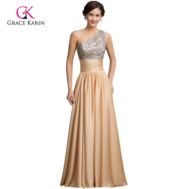 Real Sample 2018 Pailletten Lange Prom Kleider Gold Kleider Satin A ...