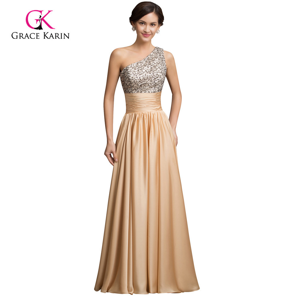 Real Sample 2018 Sequins Long Prom Dresses Gold Gowns Satin A Line