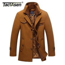 TACVASEN Winter männer Wolle Jacke Solide Baumwolle Fashion Casual Slim Fit Mischung Mäntel Warme Winddicht Pea Coat Business Mantel(China)