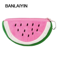 WholeTide 10* New Watermelon Shape Pink Green Plush Zip Up Cards Cash Holder Wallet Purse