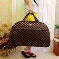 Mulheres novas bolsas Duffle sacos de viagem saco Da Bagagem Grande capacidade homens moda totes lanças com grade letras dos desenhos animados impressão