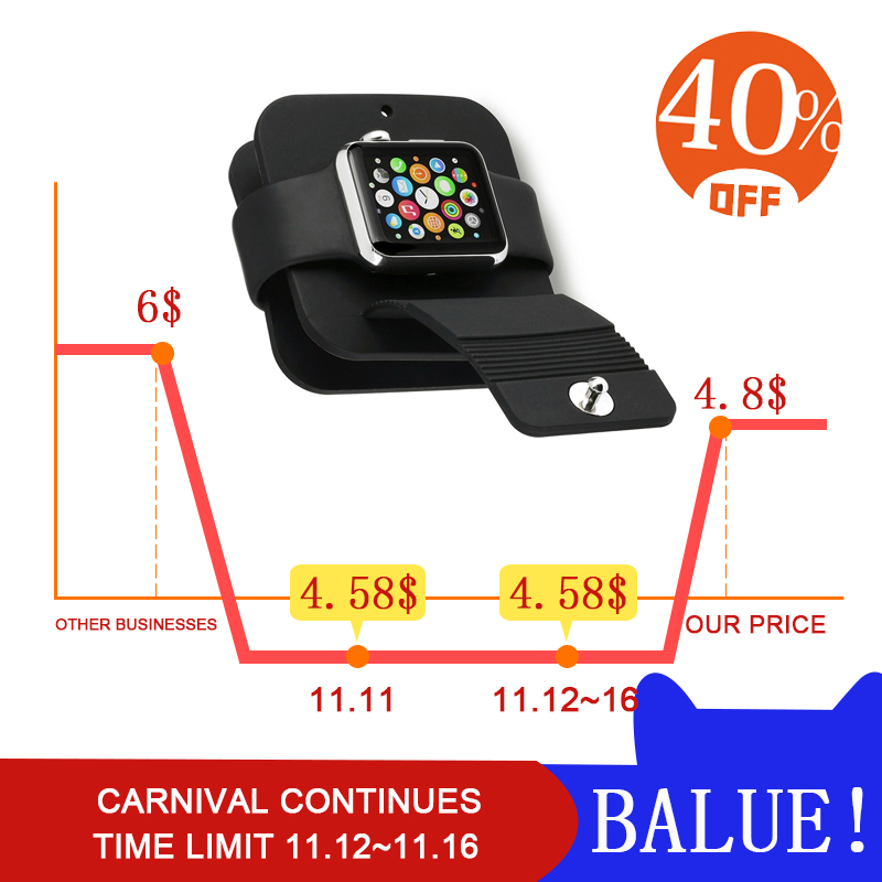 For iWatch band Silicone for apple watch stand Charging Cable Winder Stand Charger Dock Holder Stand Wallet for iwatch 4 bands smart watch charger cradle with usb charging cable for huawei watch 1 band power charge dock station magnetic charger for huawei