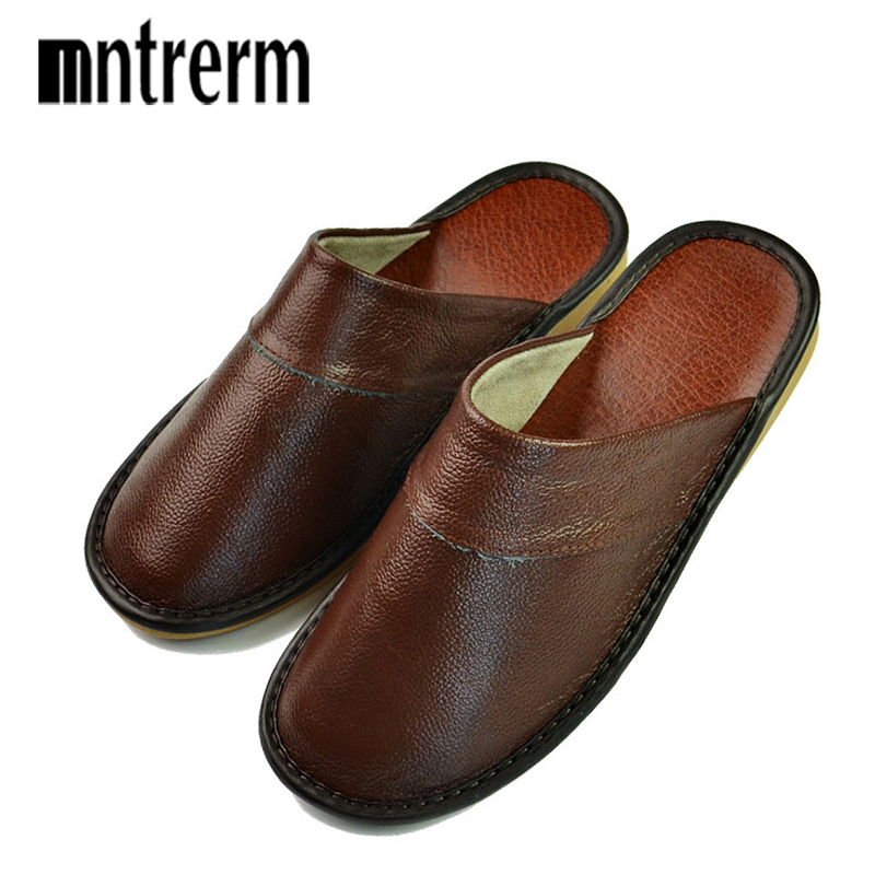 Women Mntrerm New Slippers Luxury Spring Summer Home Slippers men Cow Leather Indoor Slides Flip Flops Flat Shoes For Summer