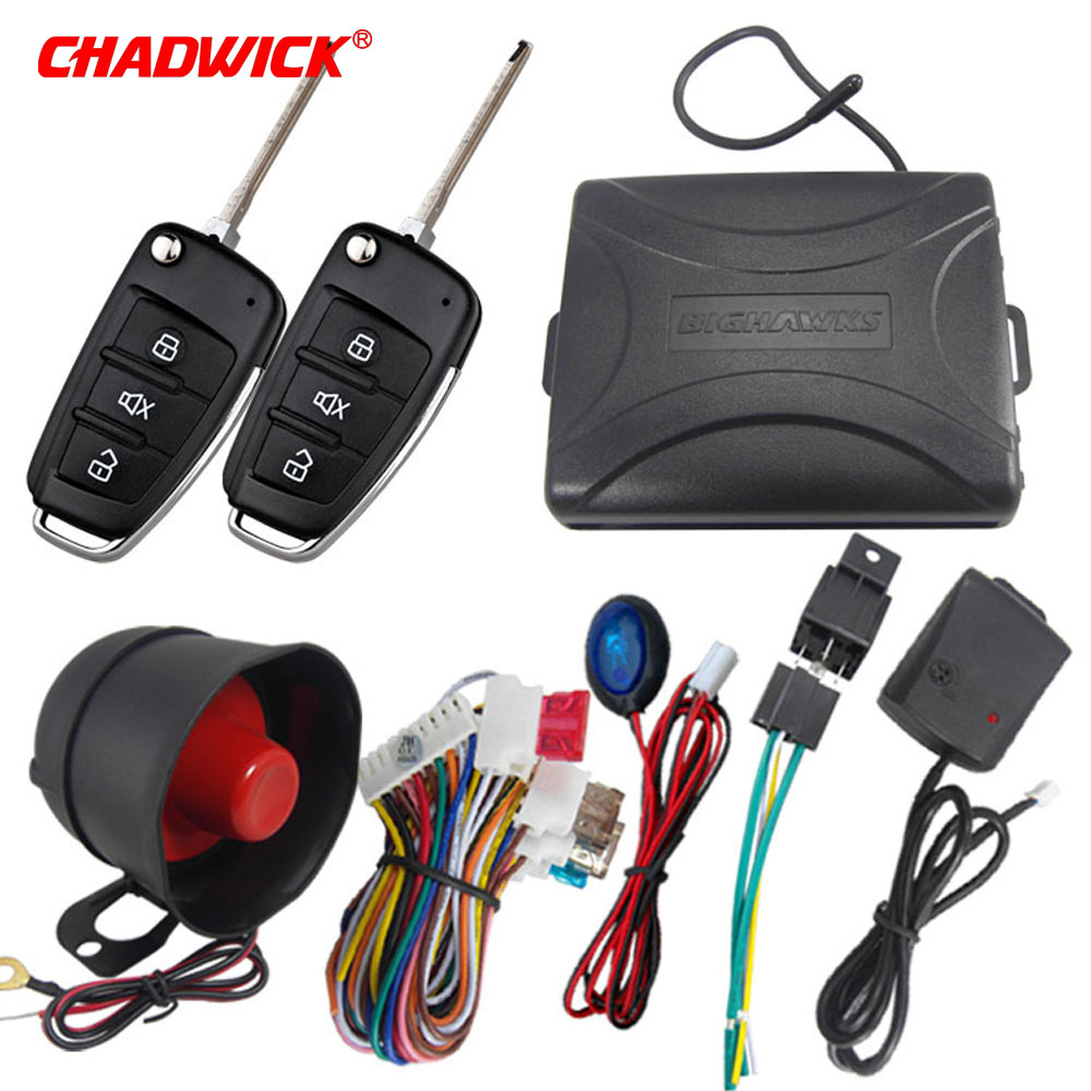 CHADWICK 8118 for Mitsubishi #7 flip key Car Alarm System withSiren one Way Auto Security Keyless Entry  vehicle anti theft-in Burglar Alarm from Automobiles & Motorcycles