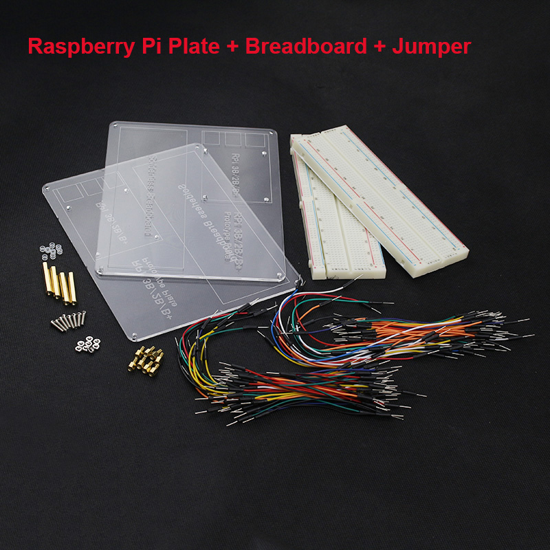 2 Set Raspberry Pi Acrylic Experiment Plate + Breadboard Board + Jumper Wire Cable for Raspberry Pi 2/3 Free Shipping