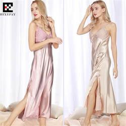 50 P топовый Для женщин имитация шелка ночная рубашка Весна и лето леди домашняя одежда для сна шелковистые свободные большие размеры отель