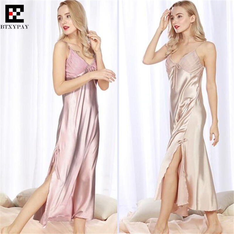 50p Top-end Women Imitation Silk   Nightgown   Spring&Summer Lady Home Sleepwear Silky Loose Big Yards Hotel   Sleepshirts   Sexy Dress