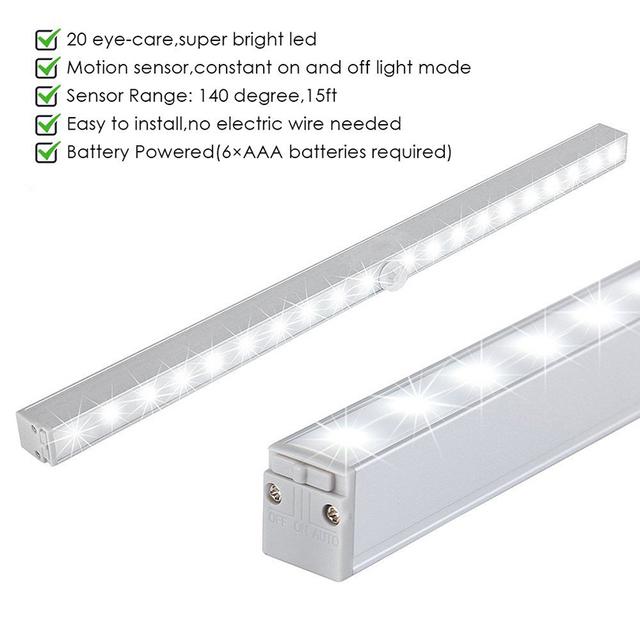 PIR Motion Sensor 20 LED Under Cabinet Light Closet Wall lamp led Rigid Strip Bar Light Kitchen Wardrobe Emergency Night light