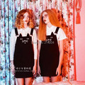 Mulheres Suspender Vestido Idiota Preguiçoso Gato Kitty Impresso Denim Macacões Vestido Além de Grande Tamanho de Todos Os Jogo Gothic Vestidos S-4XL Alexa Chung