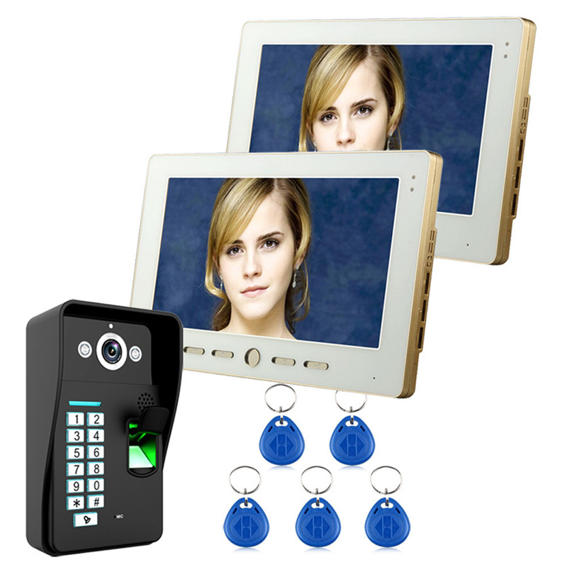 10inch Video Door Phone Intercom Doorbell System 2 Indoor Unit Monitor+1 Outdoor Camera RFID Password Fingerprint Night Vision 7inch video door phone intercom system for 10apartment tft lcd screen 10 flat indoor monitor night vision cmos outdoor camera