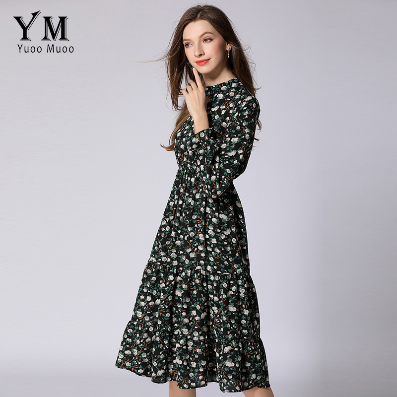 YuooMuoo New European Style Floral Chiffon Dress Women Butterfly Sleeve Print  Dress Feminine Vintage Knee length Dress Vestidos-in Dresses from Women s  ... 3328cb1aca22