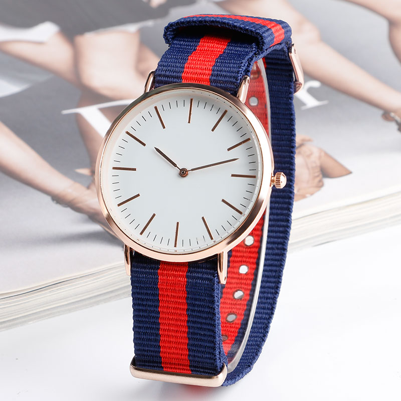 Watch Men Women Nylon Band Strap Multi Color Wrist Watch Rose Gold Dial Analog Sports Wristwatches Relogio Masculino Feminino eache silicone watch band strap replacement watch band can fit for swatch 17mm 19mm men women