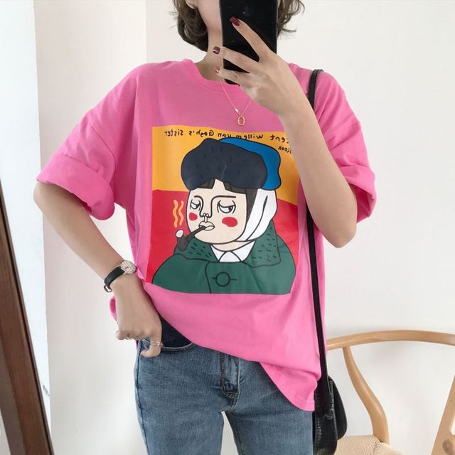 Women Cartoon Print Round...