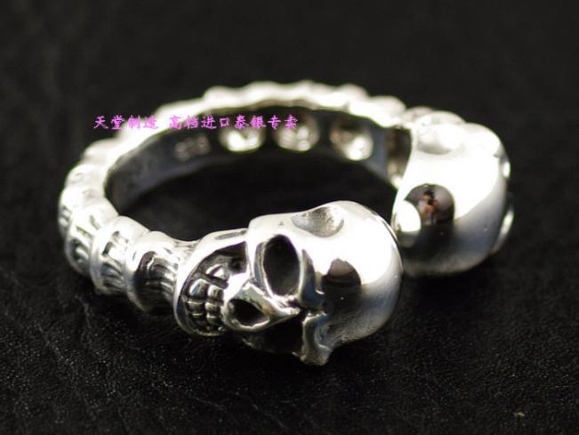 Plata de ley 925 abierto del doble del cráneo hombres anillo de plata tailandés