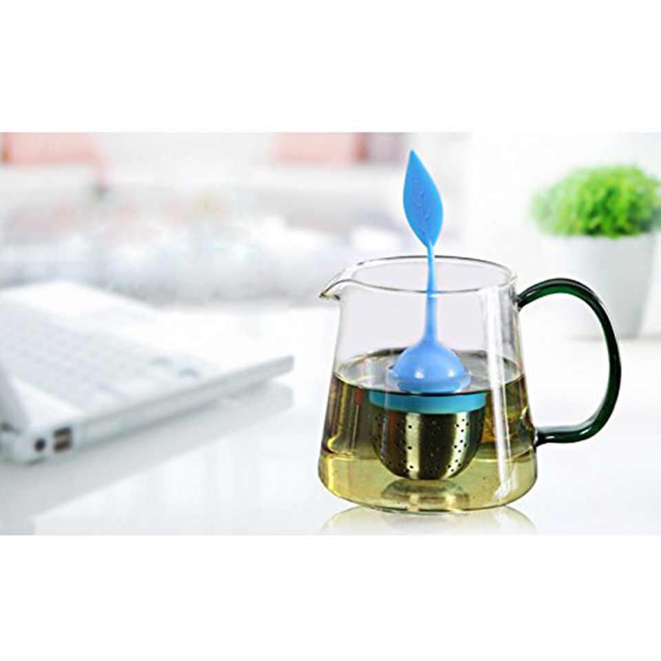 FINDKING 4 قطعة/المجموعة الشاي المساعد على التحلل أدوات مطبخ الغذاء الصف سيليكون كيس شاي فلتر 6 ألوان الفولاذ المقاوم للصدأ الشاي المصافي إبريق