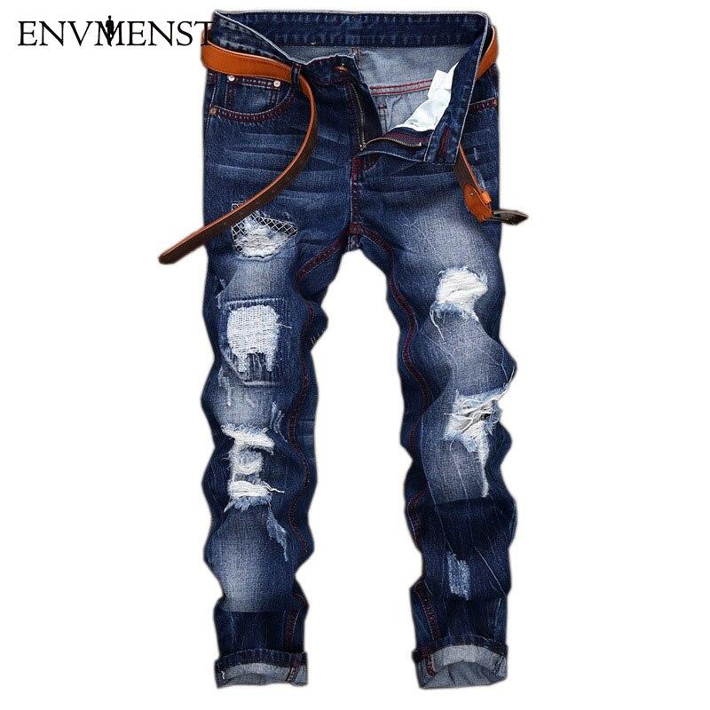 2017 Marque Conception Affligée Trou Hommes de Bleu Jeans Casual Rue Biker Style de Suture décoration Hommes Déchiré Denim Pantalon 42 Taille