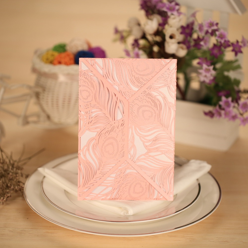Pearlescent Paper 10pcs Romantic Invitation Cards + 10pcs Inner Sheets + 10pcs Envelopes Wedding Party Banquet Decoration