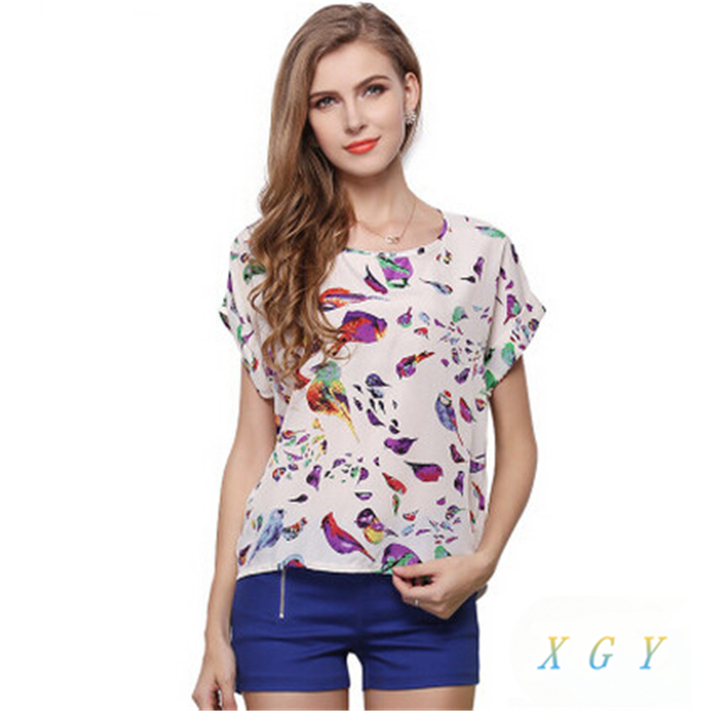 New Hot Women Fashion Spring Summer Chiffon Blouse Casual Shirt Tops Loose Retro Print Blouse Plus Size M To 2XL Women Clothing